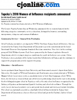 Topeka's 2018 Women of Influence Recipient
