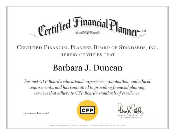 Barbara Duncan CFP Certificate