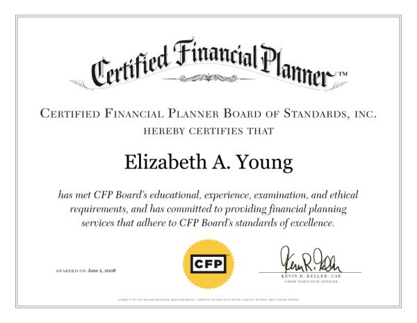Elizabeth Young CFP Certificate